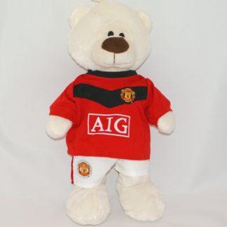 Manchester United focimezt viselő plüss medve