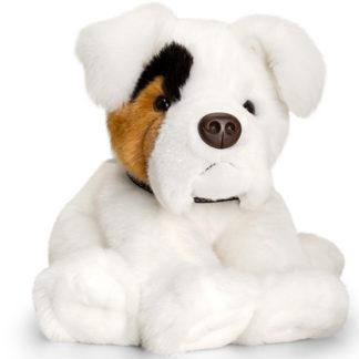 Boxer plüssállat fehér színben.