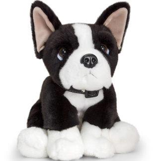 Plüssből készült boston terrier játék kutyus.
