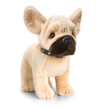 Nyakörvet viselő Szépséges francia bulldog plüss kutyuska.