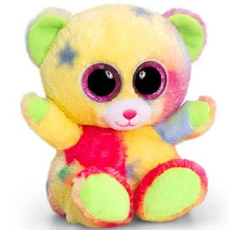 Nagy szemű Animotsu plüss medve.