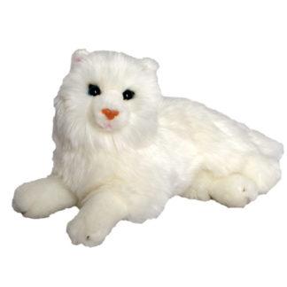 Kedves fehér színű és hosszúszőrű plüss macska.