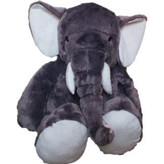 Gigászi méretű elefánt plüssjáték ülő pozicióban.