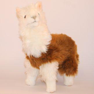 Puha szőrű fehér és barna színű plüss láma