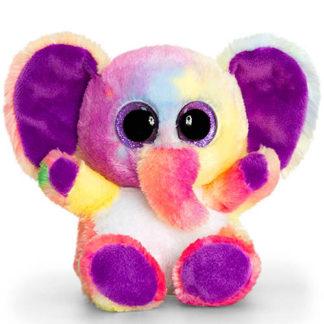 Változatos színű méretes szemű elefánt plüssjáték.