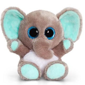 Apró Animotsu elefánt figura elbűvölően nagy szemekkel.