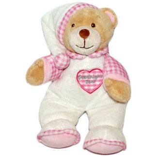 Rózsaszín ruhás hálósapkás baba maci szívecskés mintával.