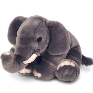Gyönyörű elefántról mintázott ülő plüssállat.