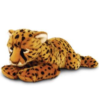 46 cm hosszú sziesztázó leopárd plüssjáték.