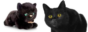 Élethű fekete cica plüssjáték