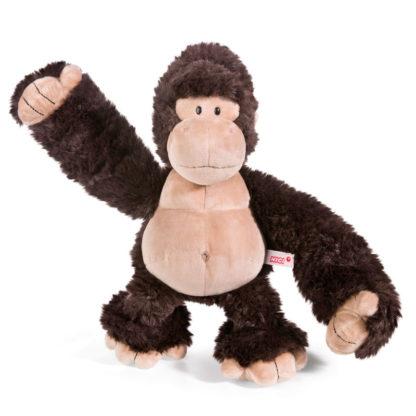 Kedves Nici márkájú gorilla plüssjáték., nagy kezekkel.