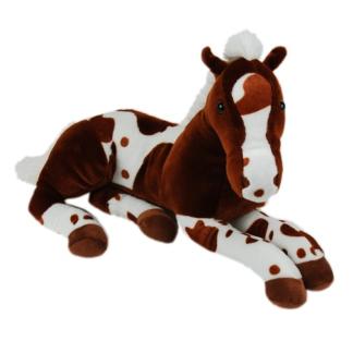 Nagy plüss ló sötétbarna-fehér színben