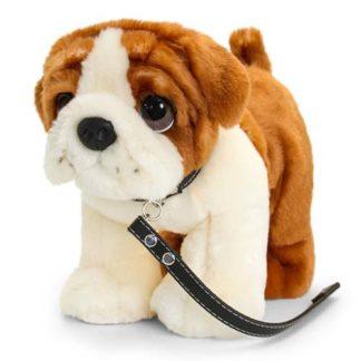 plüss angol bulldog pórázzal