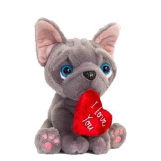 Plüss francia bulldog szívvel Valentin napra