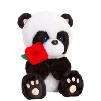 Valentin napi plüss panda virággal