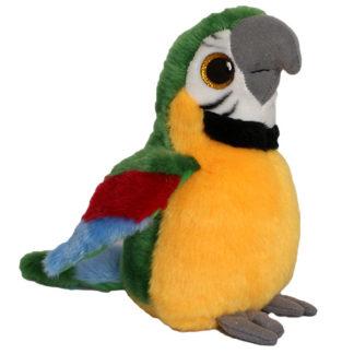 Nagyszemű zöld papagáj plüssfigura 25 cm