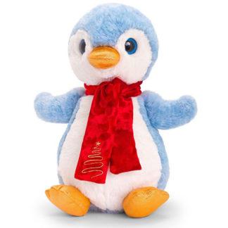 Karácsonyi pingvin plüssfigura piros sállal