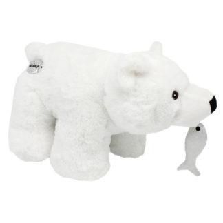 Nagy plüss jegesmedve hallal 45 cm