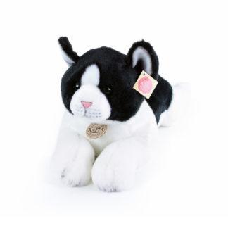 Élethű plüss cica fekete-fehér színű 35 cm