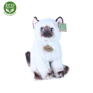 Élethű ülő sziámi plüss macska