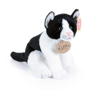 Ülő plüss kiscica fekete-fehér szőrű 20 cm