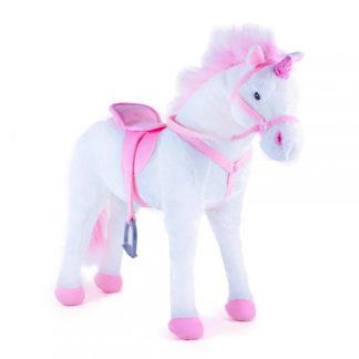 Nyerges óriás unikornis lovagolható pink-fehér 70 cm