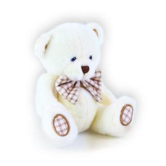 Apró fehér plüssmackó csokornyakkendővel, akasztóval