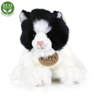 Fekete-fehér hosszú szőrű plüss cica ülő