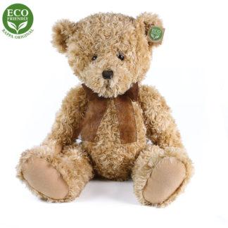 Klasszikus Teddy maci barna szalaggal ülő