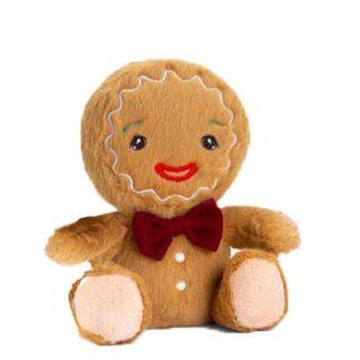 Mézi plüssfigura karácsonyra csokornyakkendővel