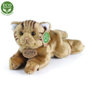 Barna színű csíkos plüss macska 30 cm
