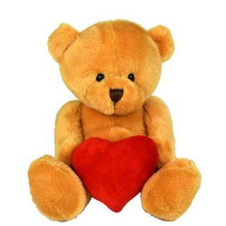 Peti mackó plüss szívvel Valentin-napra