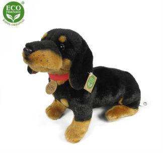 Plüss tacskó kutya piros nyakörvvel fekete-cser